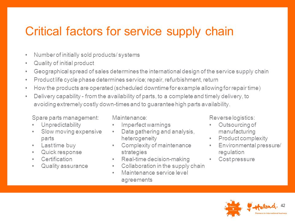 Critical factors for service supply chain