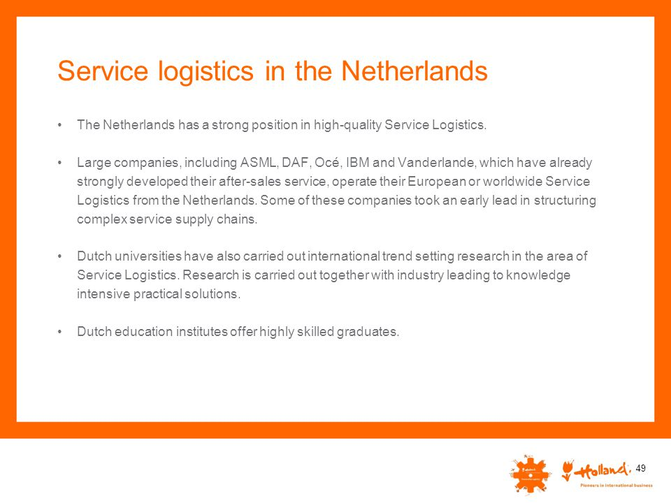 Service logistics in the Netherlands