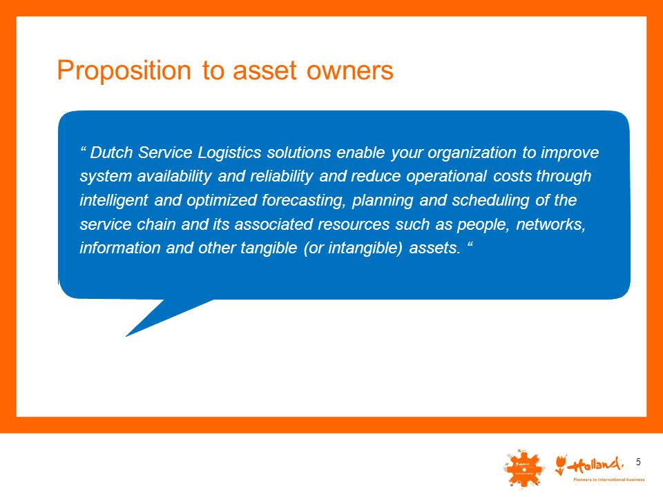 Proposition to asset owners