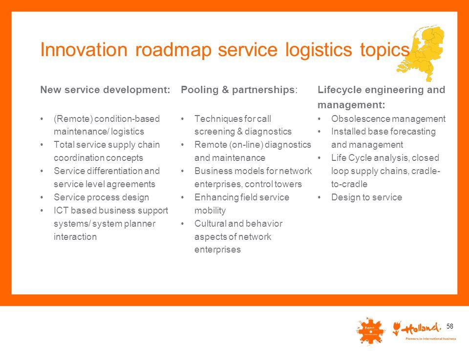 Innovation roadmap service logistics topics