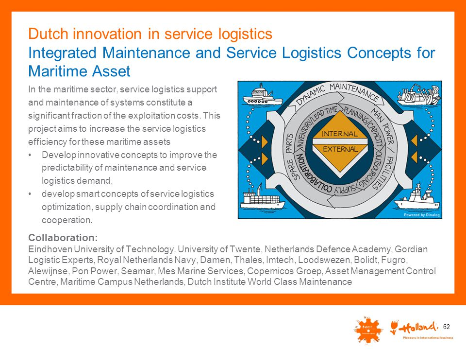 Dutch innovation in service logistics Integrated Maintenance and Service Logistics Concepts for Maritime Asset