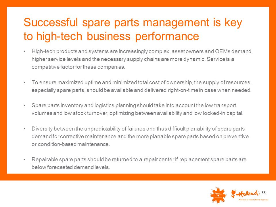 Successful spare parts management is key to high-tech business performance
