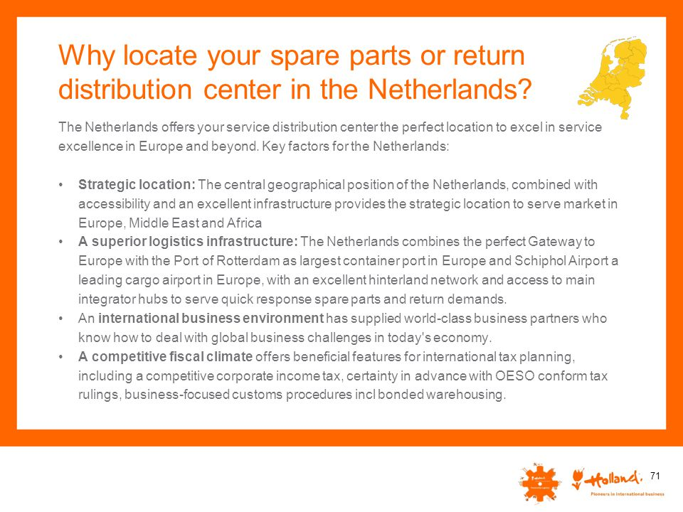 Why locate your spare parts or return distribution center in the Netherlands