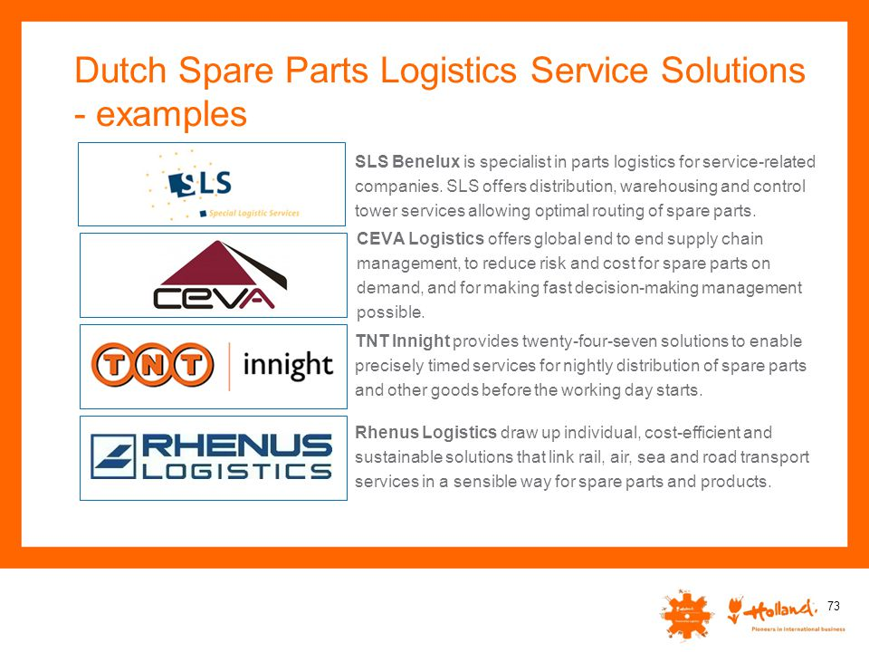Dutch Spare Parts Logistics Service Solutions - examples