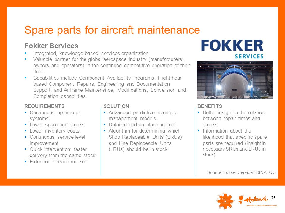 Spare parts for aircraft maintenance