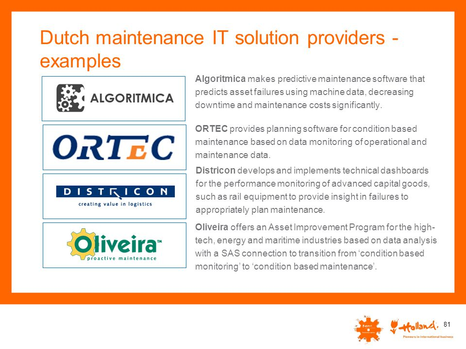 Dutch maintenance IT solution providers - examples
