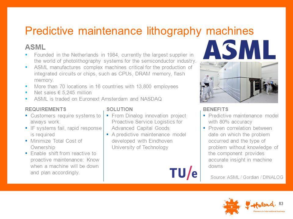Predictive maintenance lithography machines