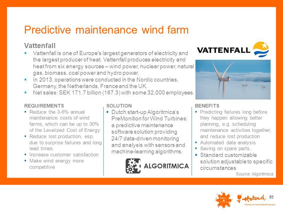 Predictive maintenance wind farm