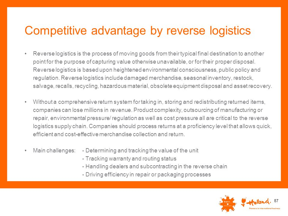 Competitive advantage by reverse logistics