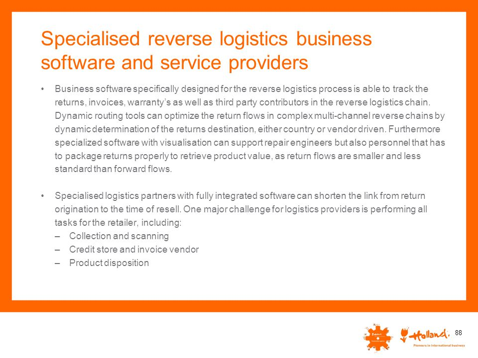 Specialised reverse logistics business software and service providers