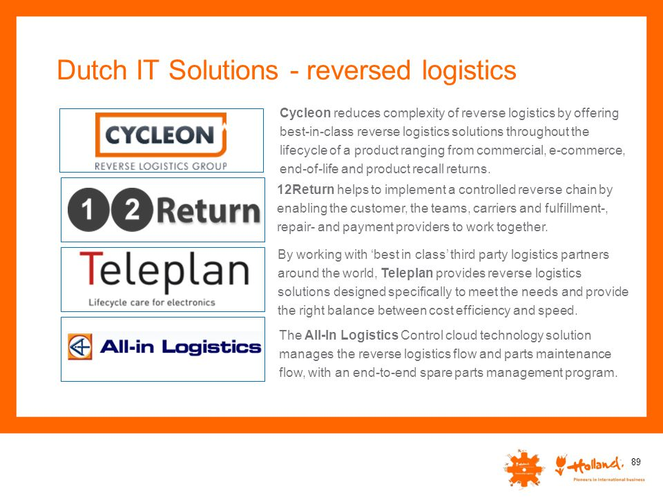 Dutch IT Solutions - reversed logistics