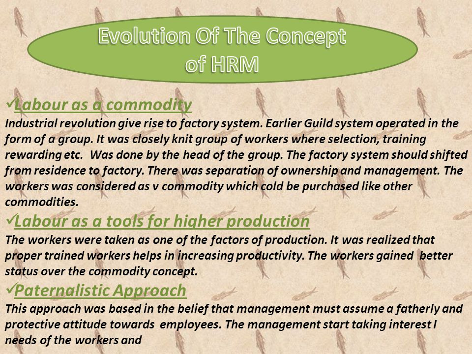 Evolution Of The Concept of HRM