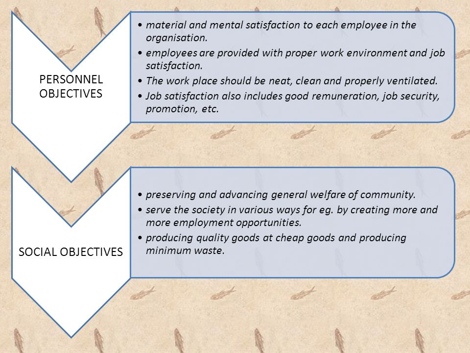 PERSONNEL OBJECTIVES material and mental satisfaction to each employee in the organisation.