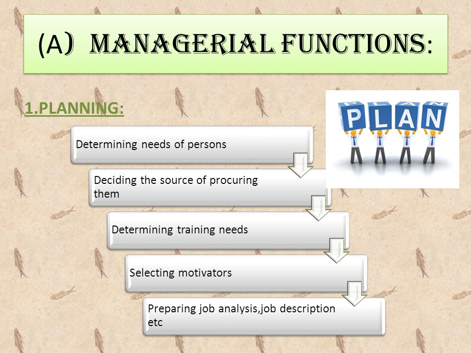 (A) MANAGERIAL FUNCTIONS: