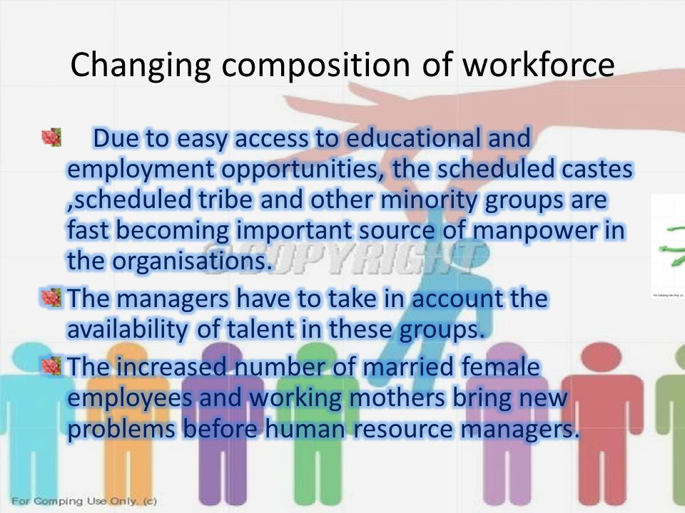 Changing composition of workforce
