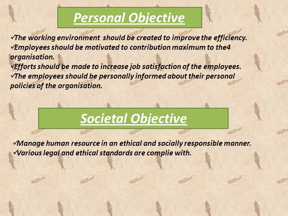 Personal Objective Societal Objective
