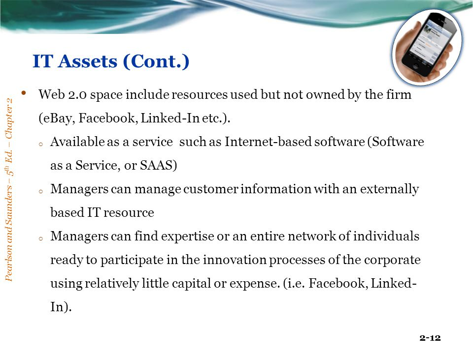IT Assets (Cont.) Web 2.0 space include resources used but not owned by the firm (eBay, Facebook, Linked-In etc.).