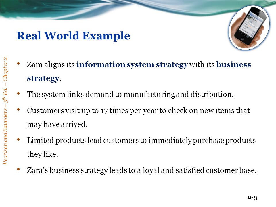 Real World Example Zara aligns its information system strategy with its business strategy.