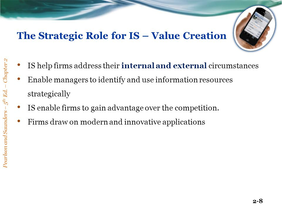 The Strategic Role for IS – Value Creation