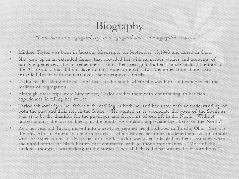 Biography I was born in a segregated city, in a segregated state, in a segregated America.