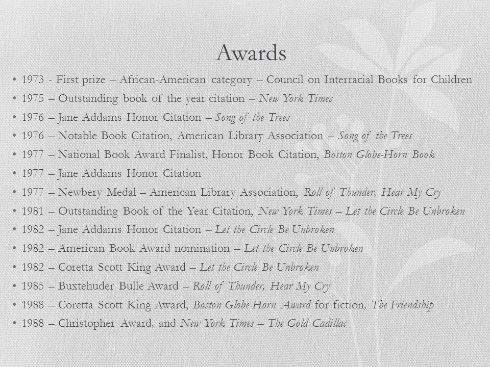 Awards 1973 - First prize – African-American category – Council on Interracial Books for Children.