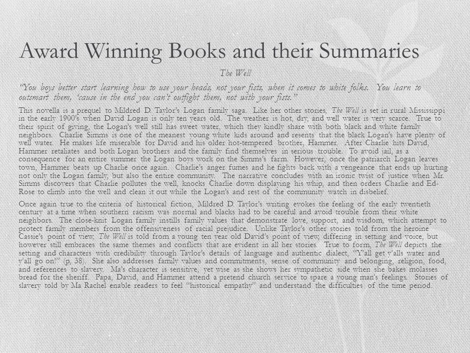 Award Winning Books and their Summaries