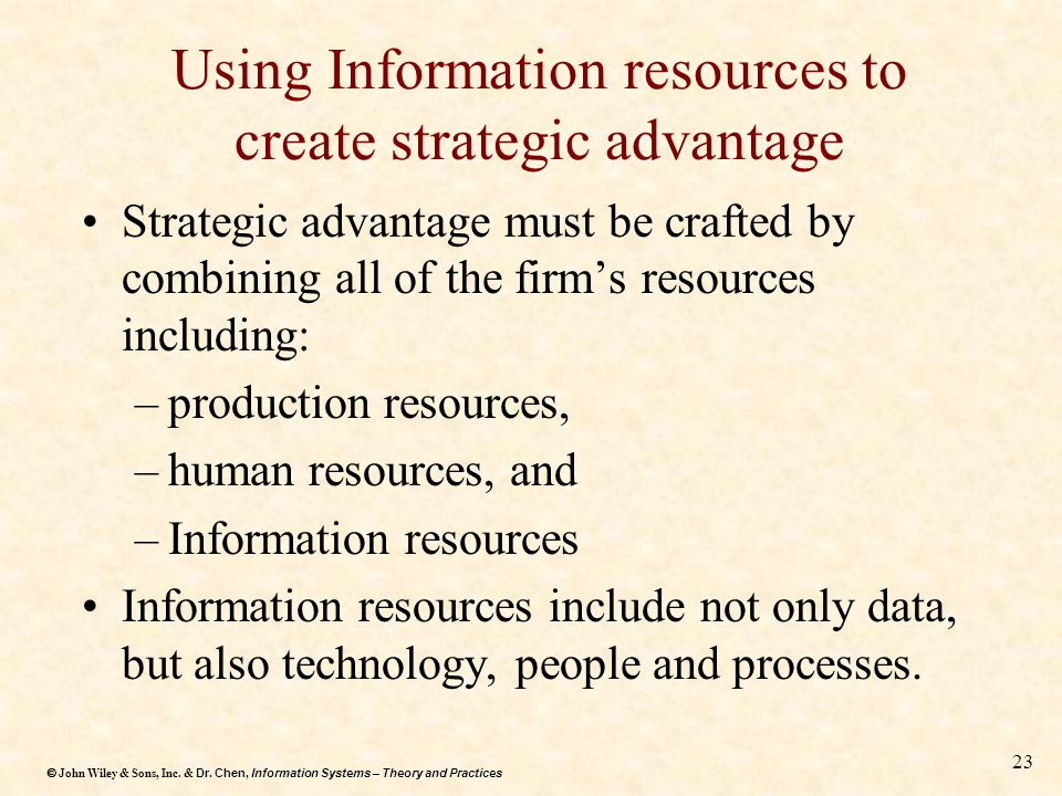 Using Information resources to create strategic advantage