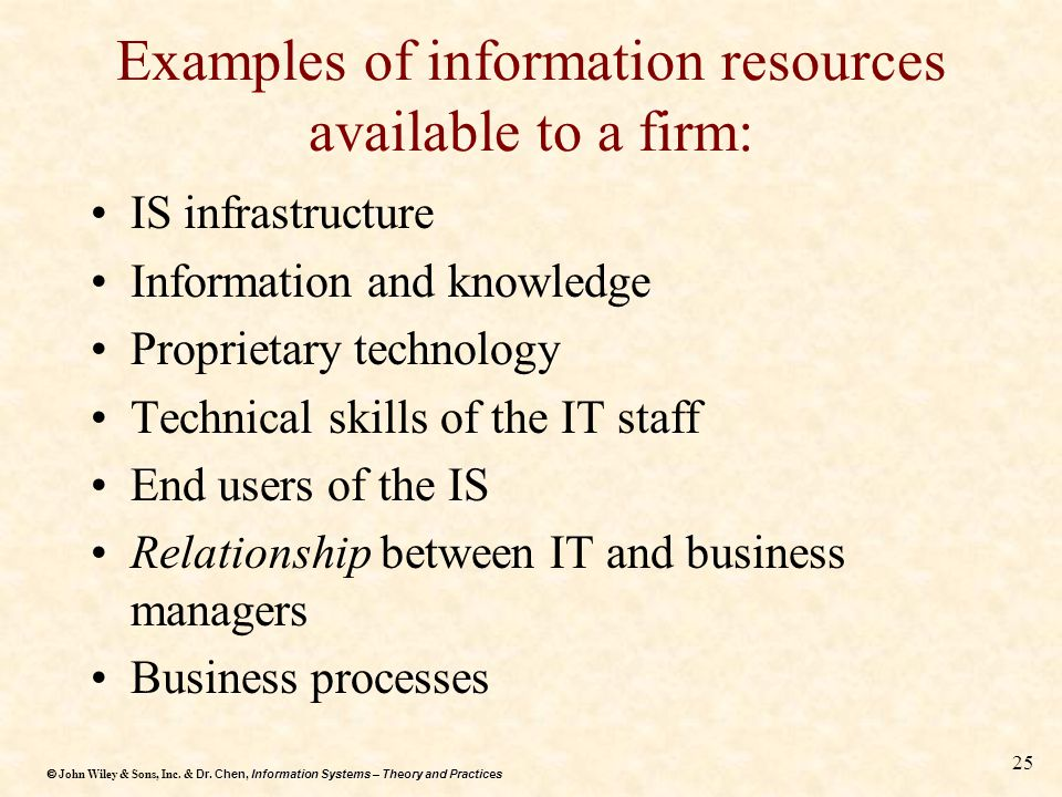 Examples of information resources available to a firm: