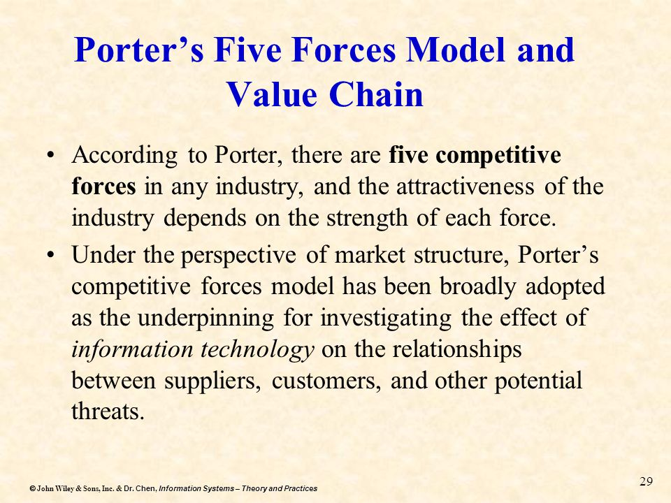 Porter's Five Forces Model and Value Chain