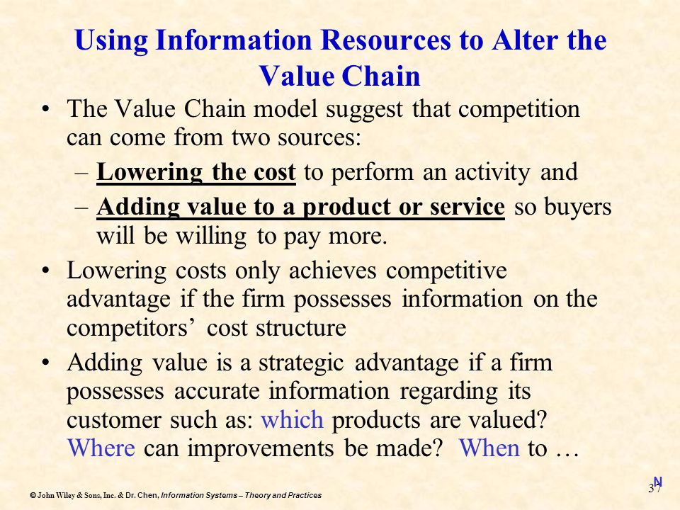 Using Information Resources to Alter the Value Chain
