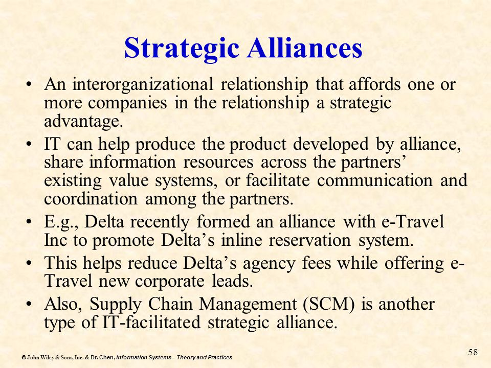 Strategic Alliances An interorganizational relationship that affords one or more companies in the relationship a strategic advantage.
