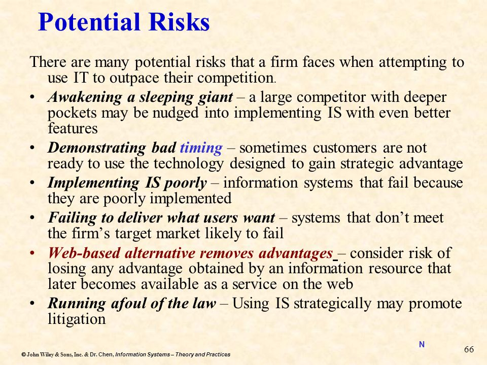 Potential Risks There are many potential risks that a firm faces when attempting to use IT to outpace their competition.