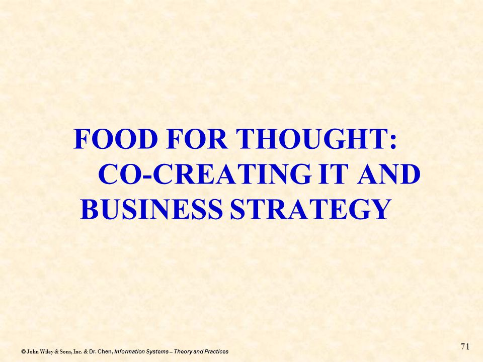 FOOD FOR THOUGHT: CO-CREATING IT AND BUSINESS STRATEGY