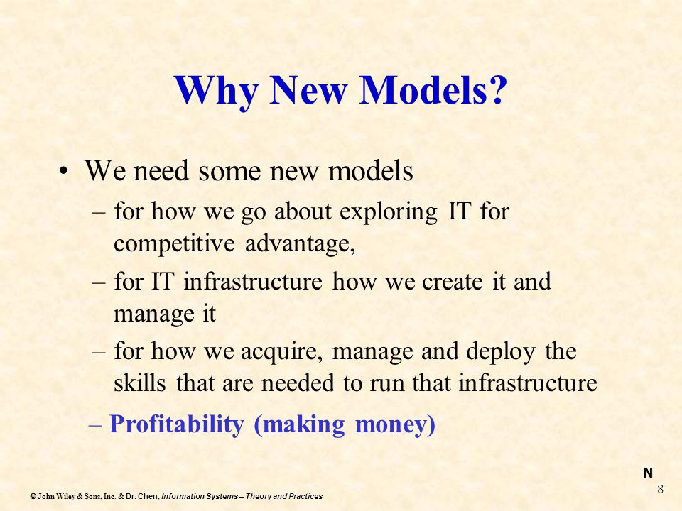 Why New Models We need some new models