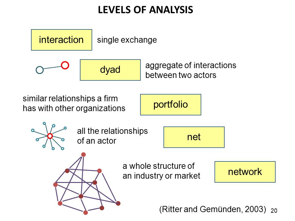 LEVELS OF ANALYSIS interaction dyad portfolio net network