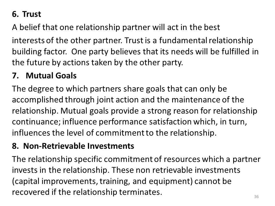 Trust A belief that one relationship partner will act in the best.