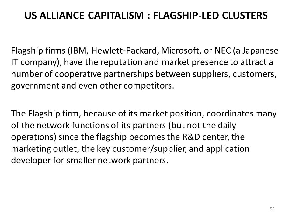 US ALLIANCE CAPITALISM : FLAGSHIP-LED CLUSTERS