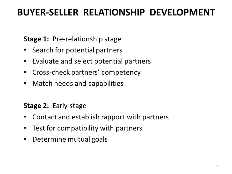 BUYER-SELLER RELATIONSHIP DEVELOPMENT