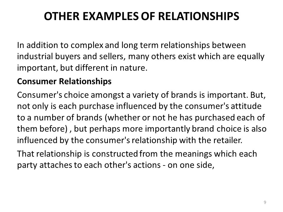 OTHER EXAMPLES OF RELATIONSHIPS