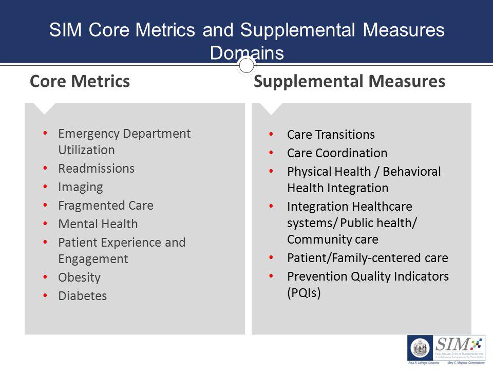 SIM Core Metrics and Supplemental Measures Domains