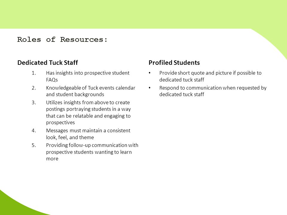 Roles of Resources: Dedicated Tuck Staff Profiled Students