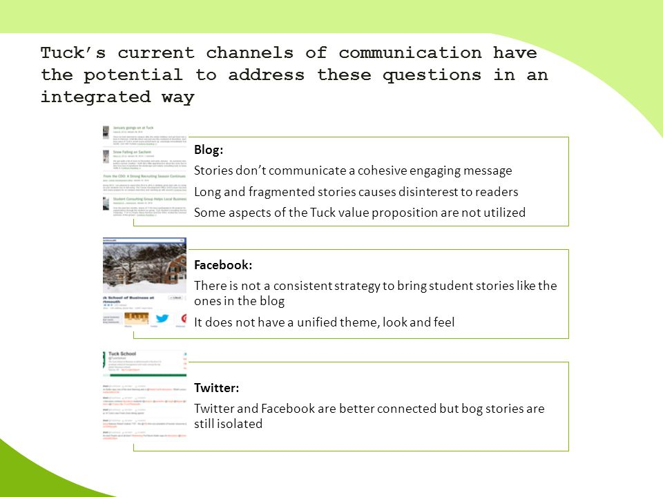 Tuck's current channels of communication have the potential to address these questions in an integrated way