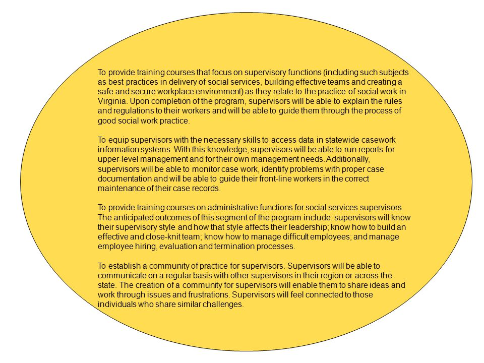 To provide training courses that focus on supervisory functions (including such subjects as best practices in delivery of social services, building effective teams and creating a safe and secure workplace environment) as they relate to the practice of social work in Virginia. Upon completion of the program, supervisors will be able to explain the rules and regulations to their workers and will be able to guide them through the process of good social work practice.