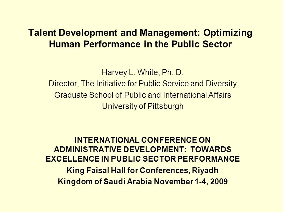 Talent Development and Management: Optimizing Human Performance in the Public Sector