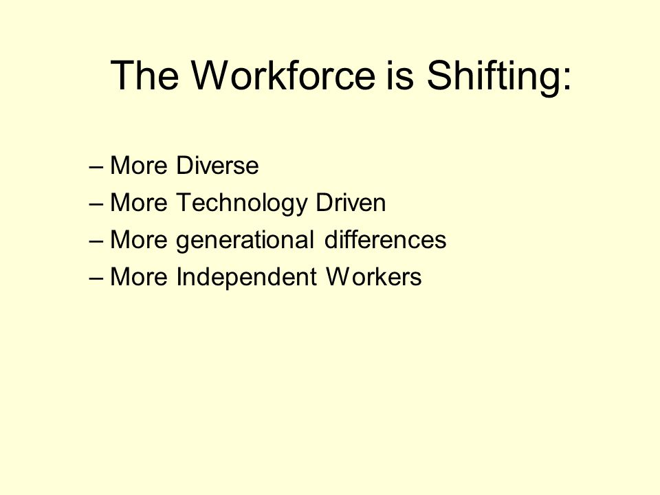 The Workforce is Shifting:
