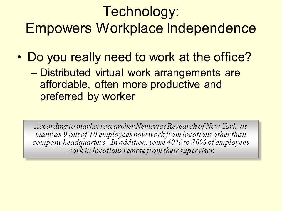 Technology: Empowers Workplace Independence