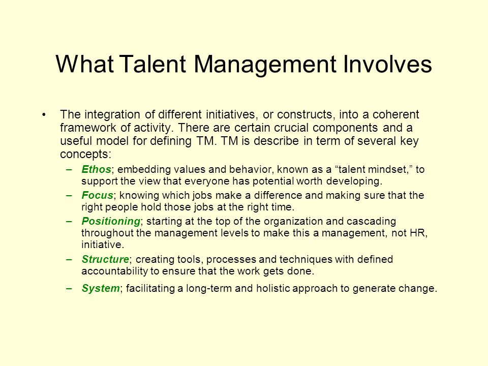 What Talent Management Involves