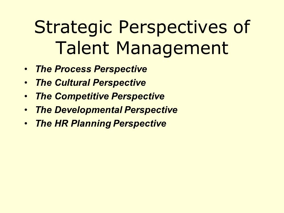 Strategic Perspectives of Talent Management