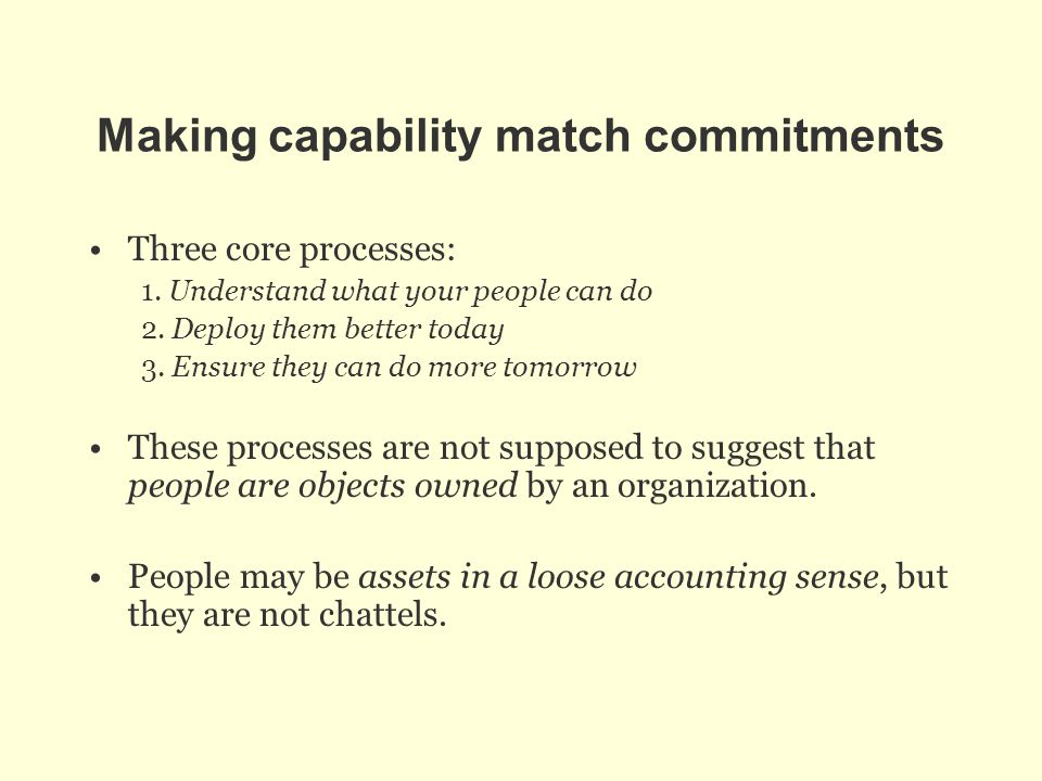 Making capability match commitments