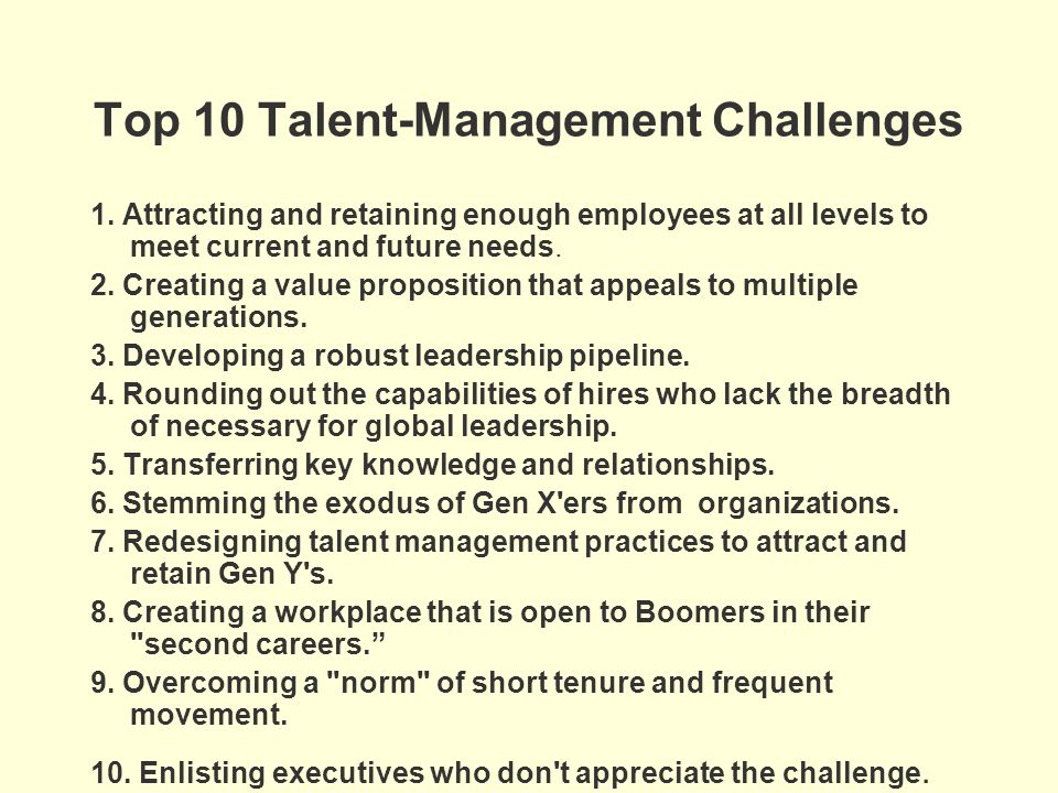Top 10 Talent-Management Challenges